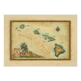 Hawaii Map, sizes 2 Poster