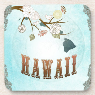 Hawaii Map With Lovely Birds Drink Coaster