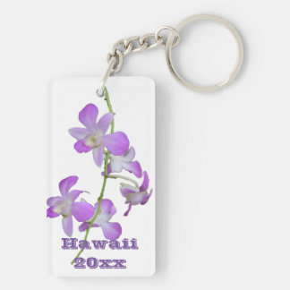 Hawaii Orchids purple and white Double-Sided Rectangular Acrylic Keychain