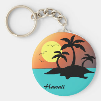 Hawaii Palm Tree Sunset Basic Round Button Keychain