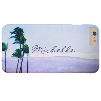Hawaii palm trees & purple hills photo custom name barely there iPhone 6 plus case