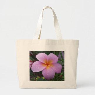 Hawaii Pink Plumeria Flower Large Tote Bag