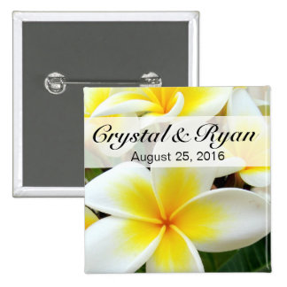 Hawaii Plumeria Frangipani Flowers | yellow white 2 Inch Square Button
