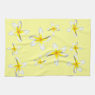 Hawaii Plumeria Yellow and White Kitchen Towel