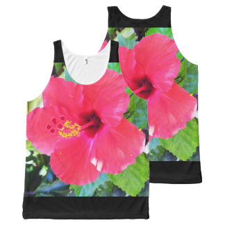 Hawaii Red Hibiscus Flower All-Over-Print Tank Top