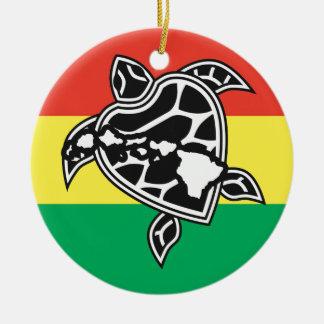 Hawaii Reggae Turtle Ceramic Ornament