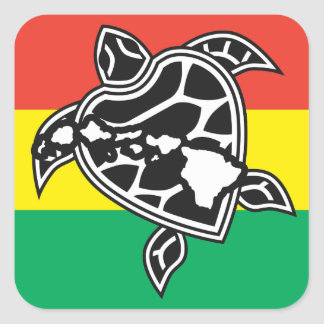 Hawaii Reggae Turtle Square Sticker