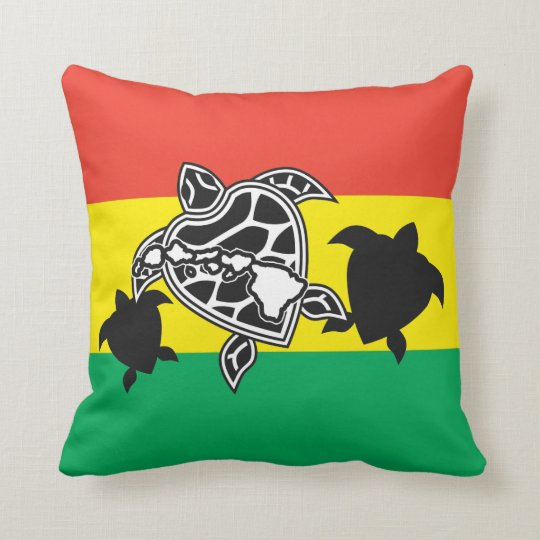 Hawaii Reggae Turtle Throw Pillow