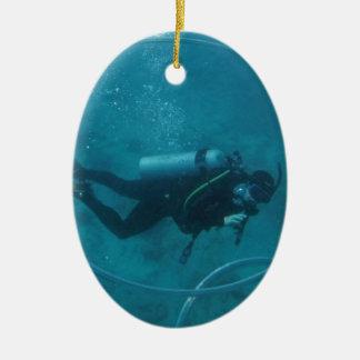 Hawaii scuba diver ceramic ornament