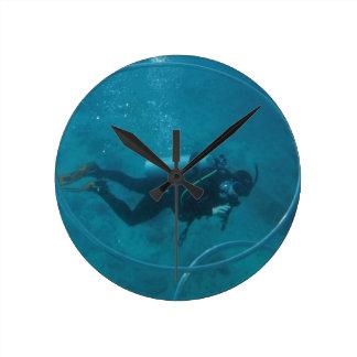 Hawaii scuba diver wall clocks
