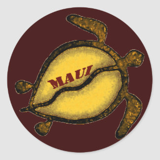Hawaii Sea Turtle Maui Classic Round Sticker