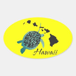 Hawaii Sea Turtle Oval Sticker