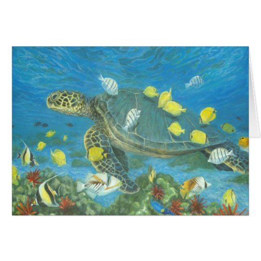 Hawaii sea turtle with reef fis card