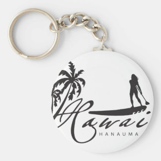 Hawaii Stand Up Paddle Basic Round Button Keychain
