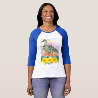 Hawaii State Bird Nene Hibiscus Sunset Ocean T-Shirt