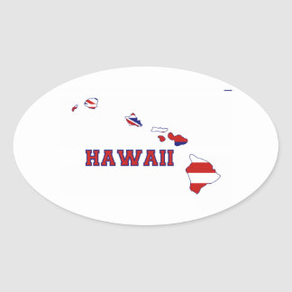Hawaii State Flag and Map Oval Sticker