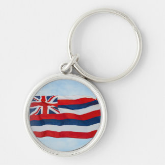 Hawaii State Flag Silver-Colored Round Keychain