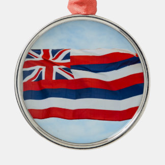 Hawaii State Flag Silver-Colored Round Ornament