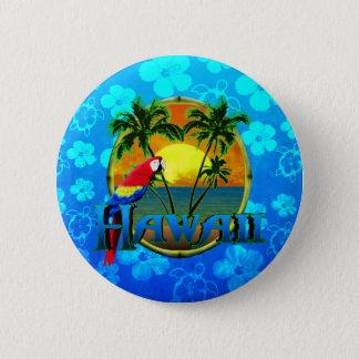 Hawaii Sunset Blue Honu 2 Inch Round Button