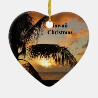 Hawaii sunset ceramic ornament