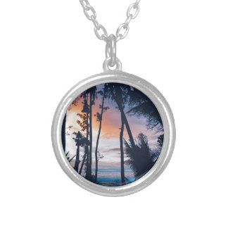 Hawaii Sunset Paradise Silver Plated Necklace