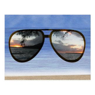 Hawaii Sunset Sunglasses Postcard