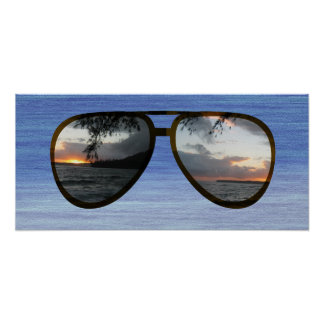 Hawaii Sunset Sunglasses Poster