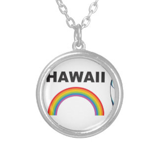 hawaii surf boards silver plated necklace
