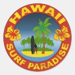 hawaii surf design sticker adhésif rond