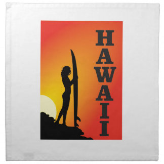 Hawaii surf girl napkin