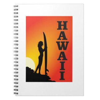 Hawaii surf girl notebook
