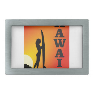 Hawaii surf girl rectangular belt buckle