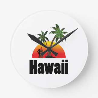 hawaii surfer round clock