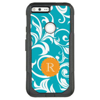 Hawaii Teal Orange Floral Wallpaper Swirl Monogram OtterBox Commuter Google Pixel XL Case