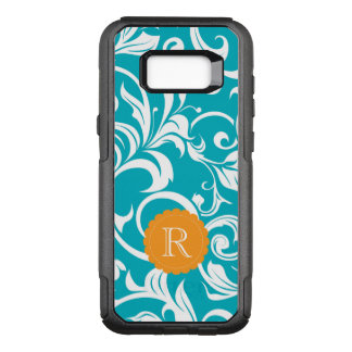 Hawaii Teal Orange Floral Wallpaper Swirl Monogram OtterBox Commuter Samsung Galaxy S8+ Case