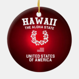 Hawaii The Aloha State Round Ceramic Ornament