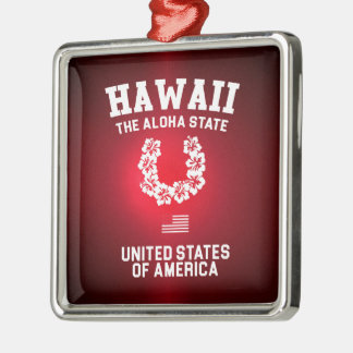 Hawaii The Aloha State Silver-Colored Square Ornament