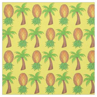 Hawaii Tropical Island Palm Trees Pineapples Fruit Fabric