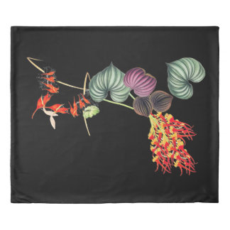 Hawaii Tropical Orchid Flowers Leaves Duvet Cover