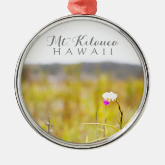 Hawaii Tropical Orchid Volcanoes National Park Silver-Colored Round Ornament