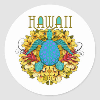Hawaii Turtle and Flowers Scrapbooking Sticker