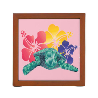 Hawaii Turtle and Hibiscus Flowers Desk Organizer