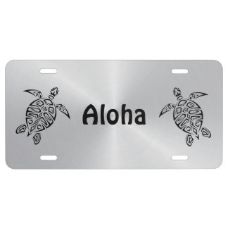 Hawaii Turtles Aloha Black And Silver License Plate