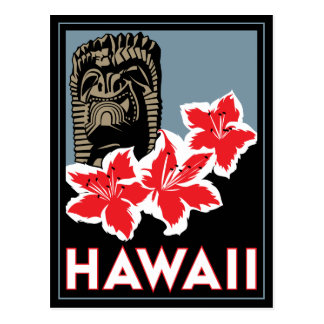 hawaii united states usa art deco retro travel post card