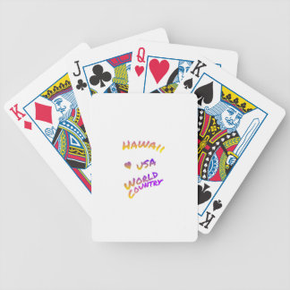 Hawaii usa world country, colorful text art bicycle playing cards