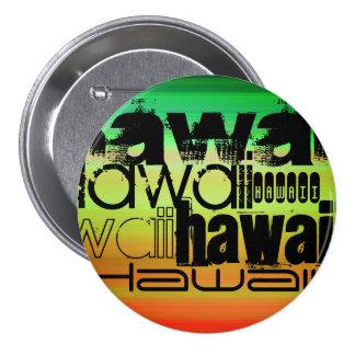 Hawaii; Vibrant Green, Orange, & Yellow 3 Inch Round Button
