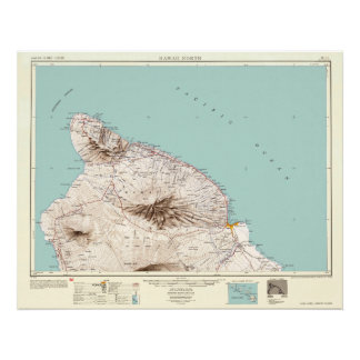 Hawaii--Vintage 1954 Map Poster