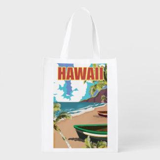Hawaii vintage travel poster reusable grocery bag