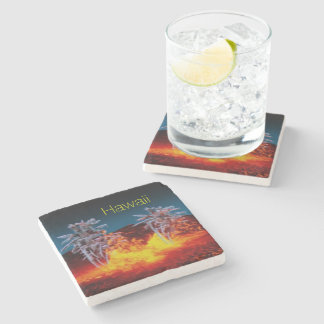 Hawaii volcanoes stone coaster