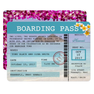 Hawaii Wedding Boarding Pass Invitation